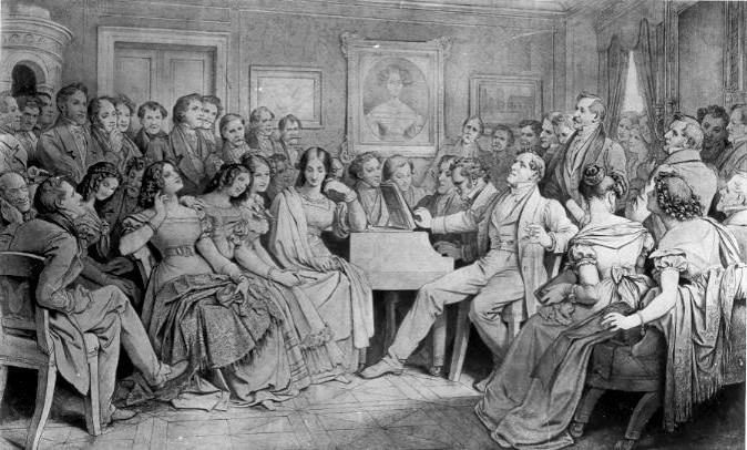Человек за роялем - композитор Франц Шуберт (1797-1828).